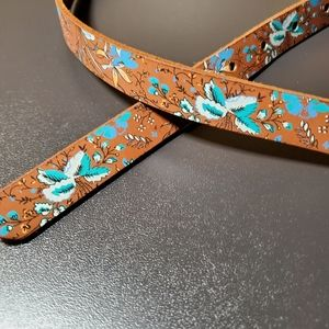 Gap Genuine Leather Floral Belt Size XS